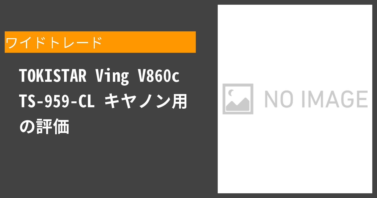 TOKISTAR Ving V860c TS-959-CL キヤノン用を徹底評価