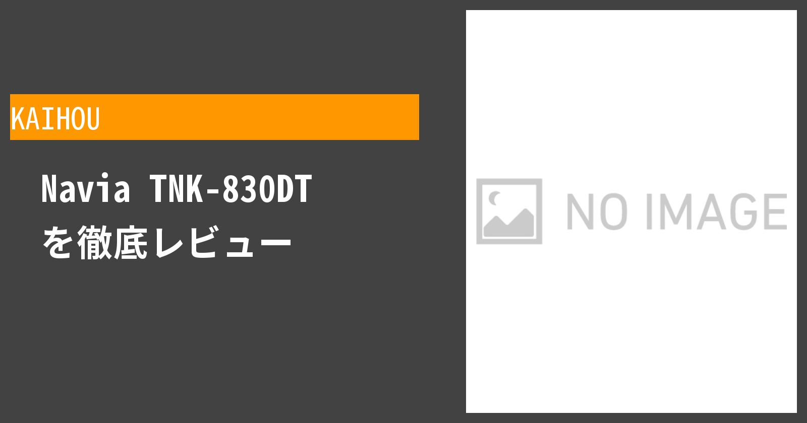 Navia TNK-830DTを徹底評価