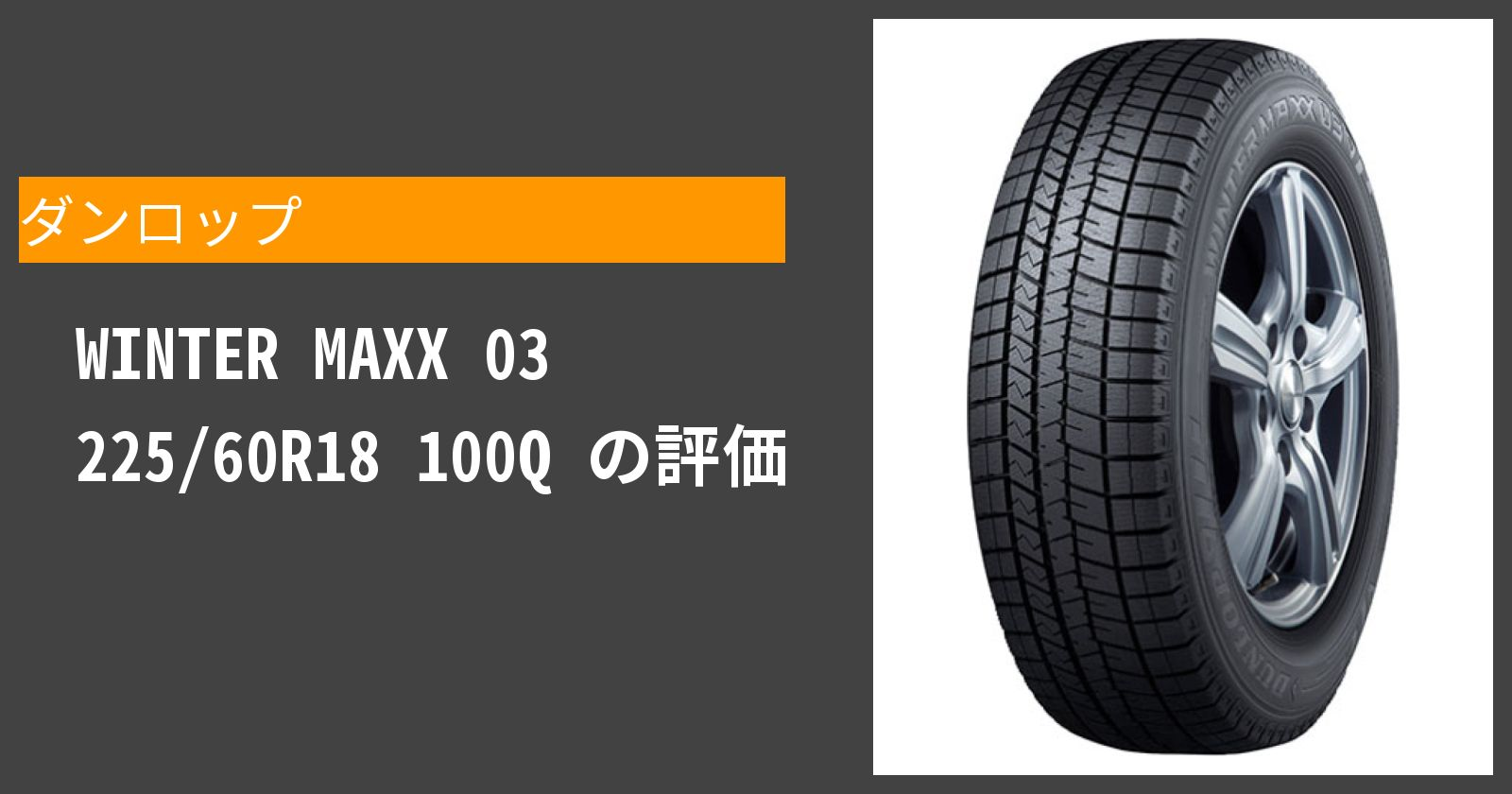 WINTER MAXX 03 225/60R18 100Qを徹底評価