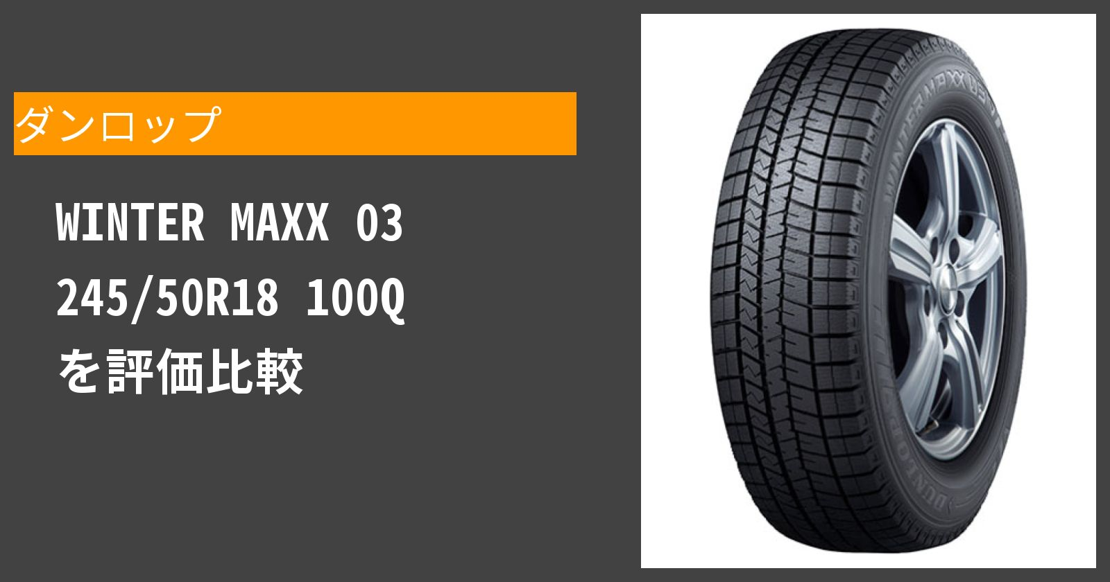 WINTER MAXX 03 245/50R18 100Qを徹底評価